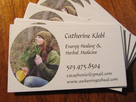 Business card, Irridescence Reiki, Energy Healing, Herbal Medicine
