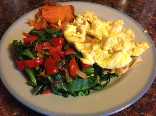 Breakfast of Champions, eggs, food journal, paleo diet, rainbow veggies
